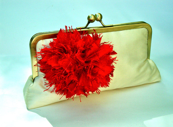 Mia Clutch Lined in Scarlet Red Dupioni Silk