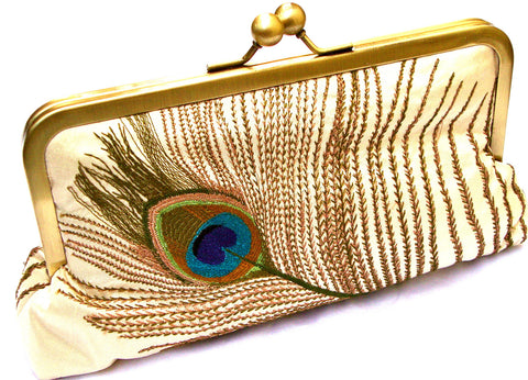 Ivory Tally Clutch Lined in Royal Purple Dupioni Silk