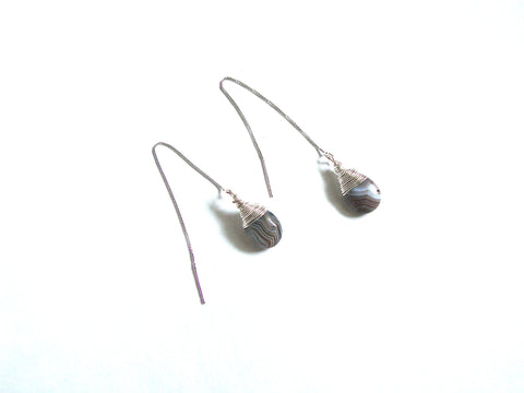 Gray Agate Sterling Silver Thread Earrings