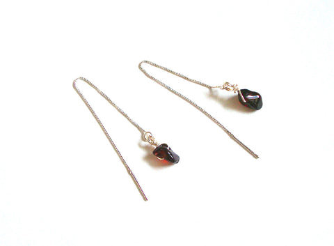 Garnet Sterling Silver Thread Earrings