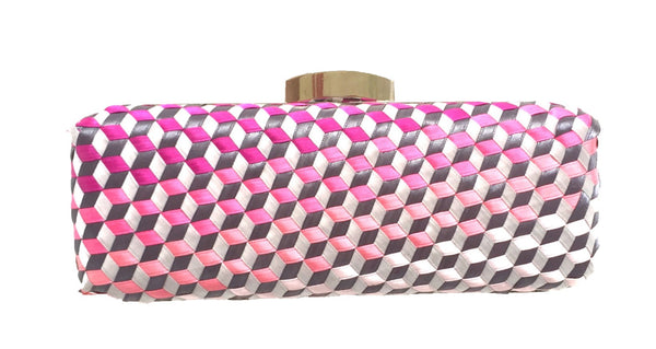 Kensington Geometric Handwoven Minaudiere Box Clutch