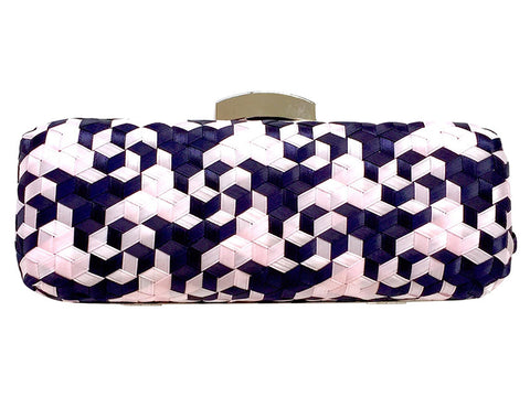 Logan 3D Geometric Handwoven Clutch