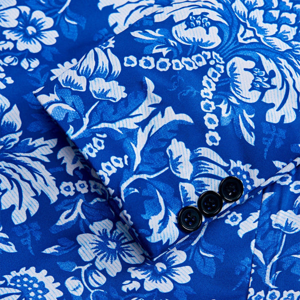 Blue Floral Print Slim Fit Suits