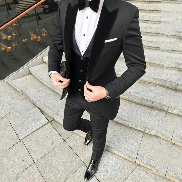 Custom Black Terno Masculino Slim Fit Men Suits Blazers Groom Wedding Tuxedos