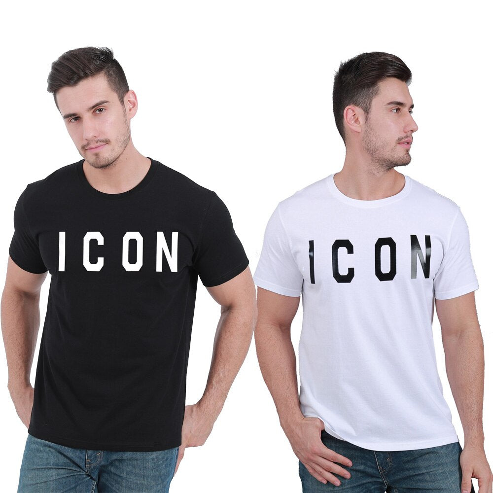 ICON Letter Summer Cotton Soft Slim Tshirt Tops Tee for Men Women