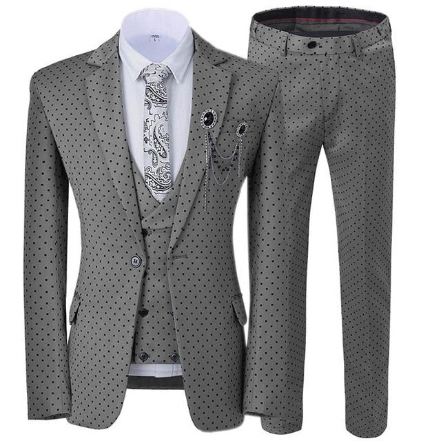 Three Pieces Men's Wedding Suit Three Pieces Dots Printed Slim Fit Notch Lapel Tuxedos Tailcoat Best Men Double Breasted Vest