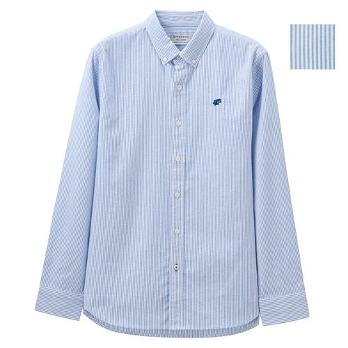 Men Shirts Frog Embroidered Oxford Slim Shirt Men