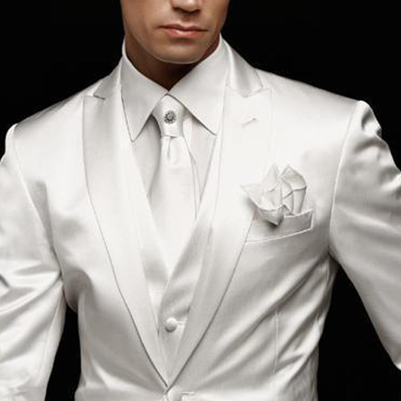 White Slim Fit Mens Suit for Wedding Groom Tuxedos