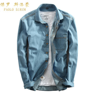 Casual Men Denim Shirt Long Sleeve Pure Cotton Slim Fit Jeans Blouse