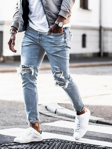 men's jeans new holes in Europe and the United States men's pants men's boxer shorts Pencil pants