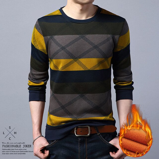 Men's Autumn and Winter Pullovers Slim Long Sleeve Cotton Warm Fashion