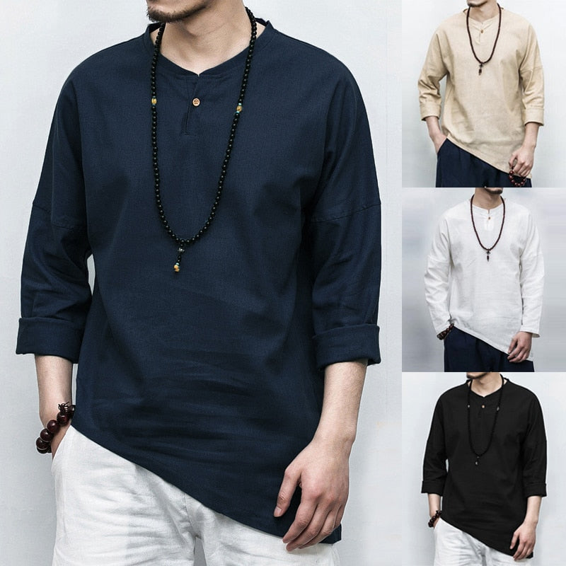 Plus Size Men's Shirts Long Sleeve Solid Style Shirt