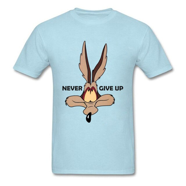 Fox Tops Wolf Tees Men Green Tshirt Coyote Never Give Up Funny T Shirt Latest Cartoon Print T-shirts Cotton Team Clothes Custom