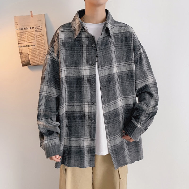 Plaid Shirt Men's Fashion Cotton