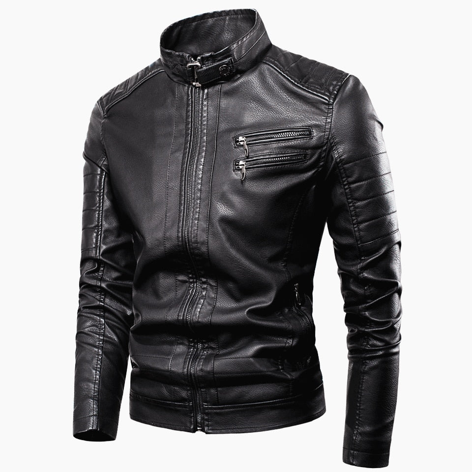 New Casual Vintage Zipper Style Fleece Leather Jackets