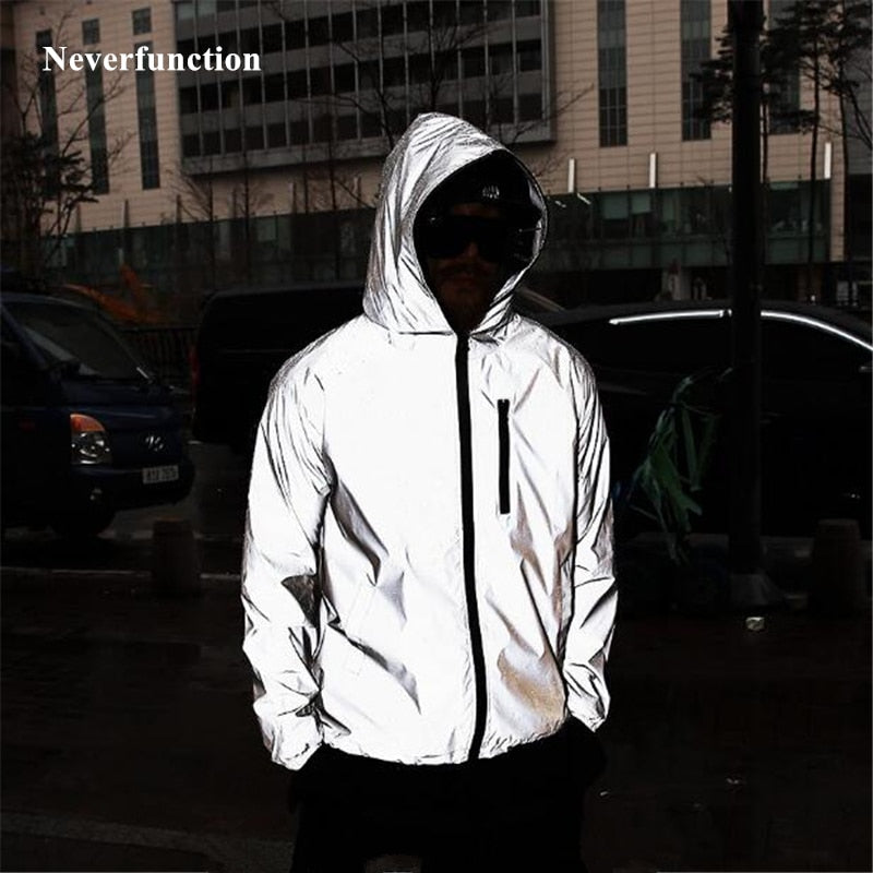 Plus Size 4XL Men Spring Autumn full reflective Windbreaker waterproof Jacket
