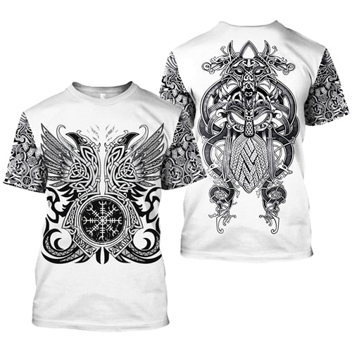 Brand clothing Viking Tattoo pattern Print 3D t shirt Men tshirt Summer Funny T-Shirt Short Sleeve O-neck Tops Drop Shipping