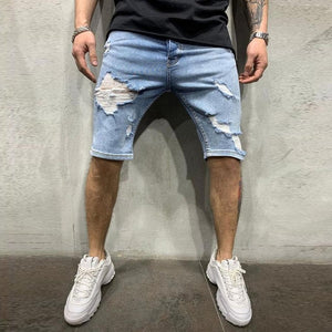 Elastic Denim Shorts