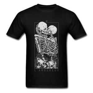 The Lovers Sweet Kiss Skull Tshirts Hug Me Pure Cotton Couple Skeleton Skull T Shirt Men Easter Day Death Punk Style T Shirts