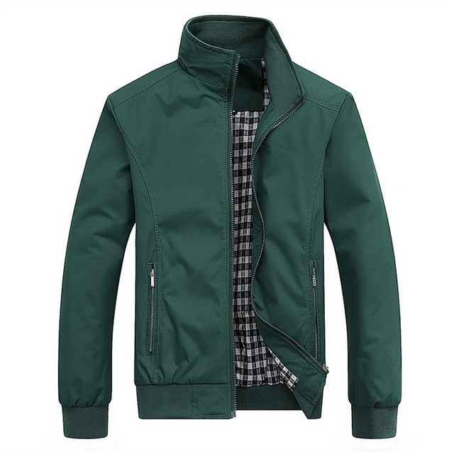 Spring Autumn Casual Solid Fashion Slim Bomber Jacket Men