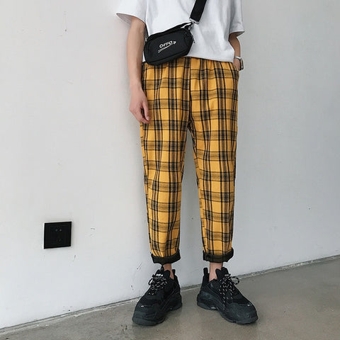 Streetwear Yellow Plaid Pants Men Joggers