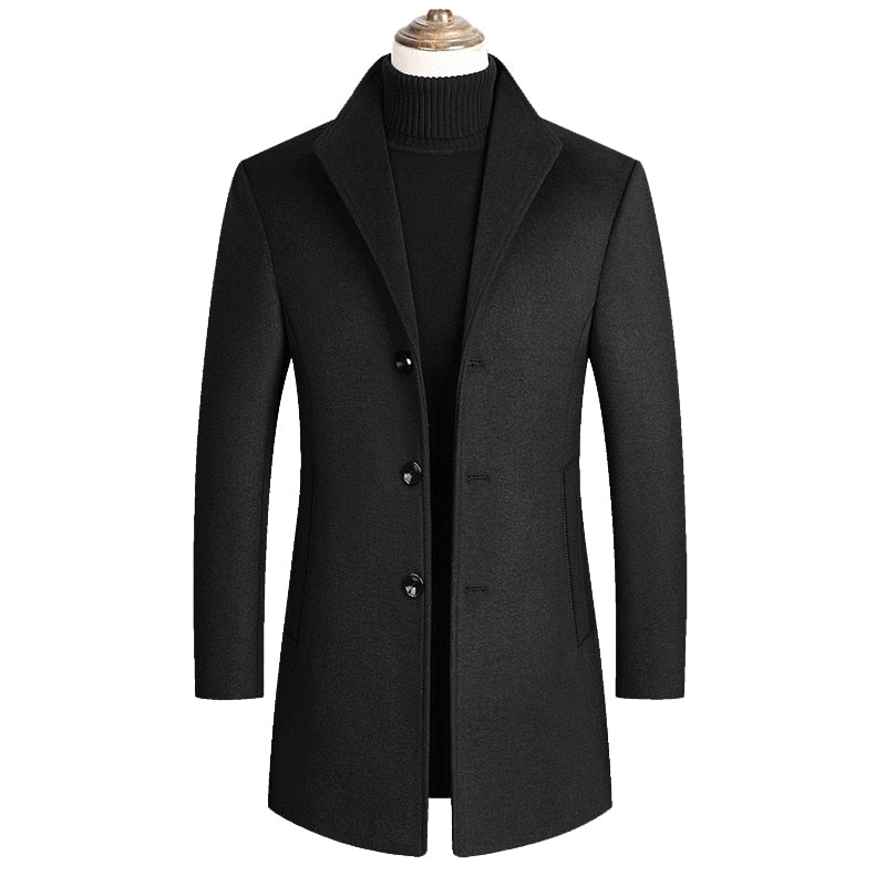 Men Wool Blends Coats Autumn Winter New Solid Color High Quality