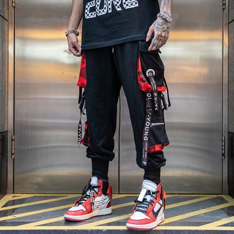 Men Hip Hop Black Cargo Pants joggers Sweatpants