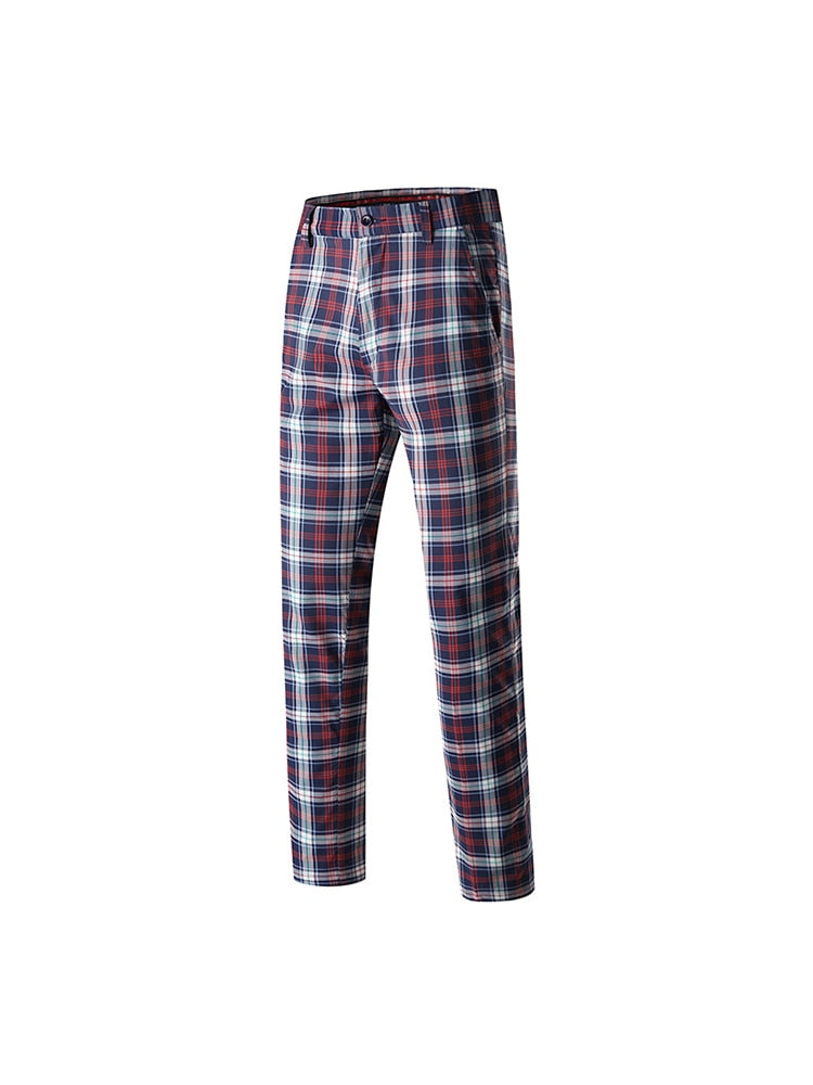 Top quality Mens New red Arrival Full Printed Checks Sexy polyester Trouser
