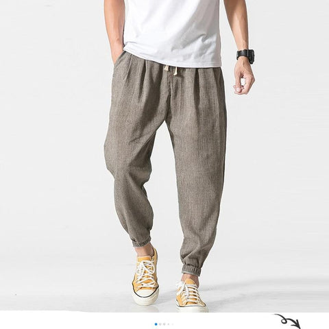 Cotton Linen Casual Harem Pants Men Joggers