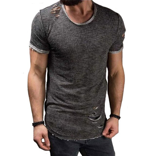 Cotton T Shirt Men Fashion Hole Short Sleeve T-shirt Solid Slim Fit O Neck Tops Casual Tshirt DropShipping
