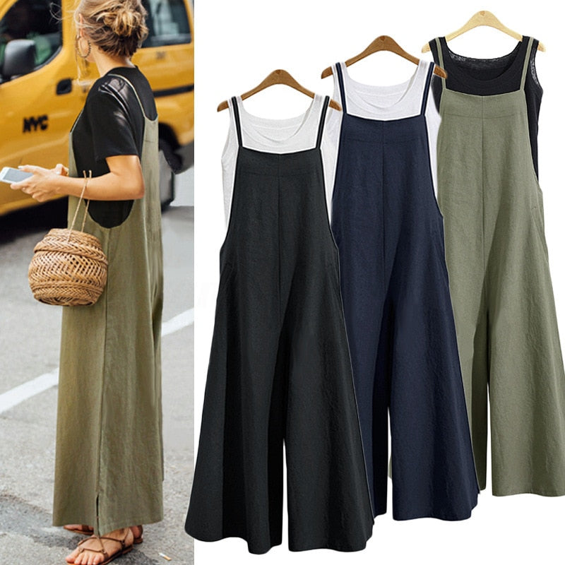 2021 New Summer Women Casual Solid Strap Wide Leg Pants Pockets Romper Dungaree Bib Overalls Loose Cotton Linen Jumpsuits Casual