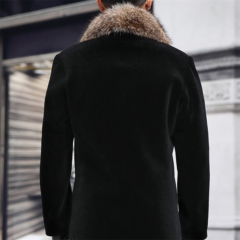 New Woolen Coat Men's Single-breasted Thickened