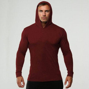 New Long Sleeve Shirts Fitness Hoodies Quick Dry Pullover Solid Mens Hooded Clothing  Black Sweatshirt  Men's Clothing