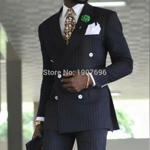 Pinstripe Double Breasted Business Suits for Men Formal Wedding Tuxedos