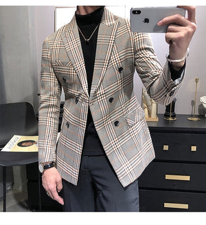 Tuxedos New Arrival Plaid Casual Double Breasted Slim Fit Blazer