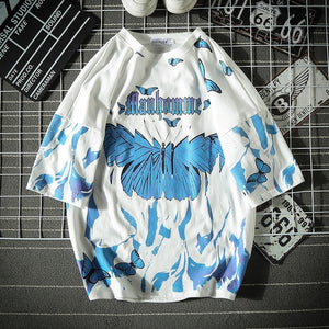 Blue Butterfly T Shirt Men