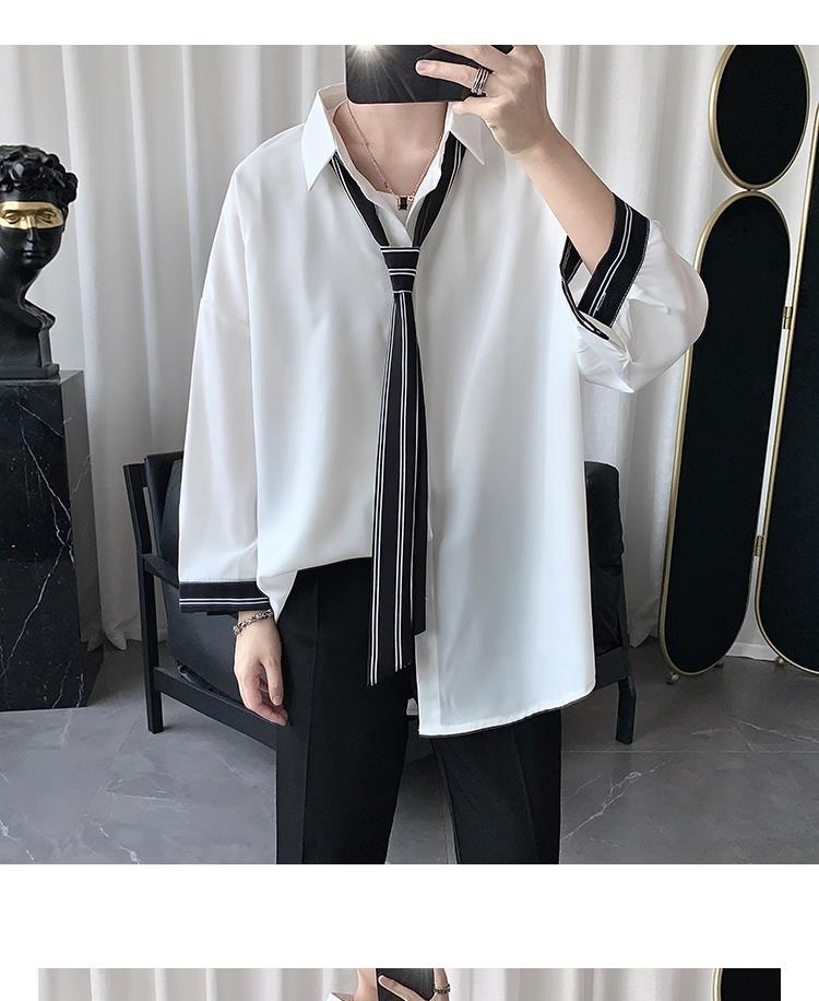 Men Shirts Male Tops Patchwork with Tie Simple Leisure