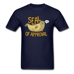 Seal of Approval Walrus Otter Funky Tshirt O-Neck Personalized Short Sleeve All Cotton Men T Shirts Custom Wholesale Streetwear