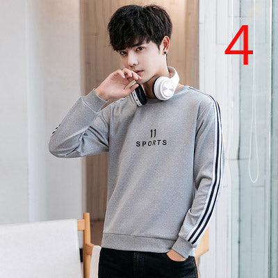 Short-sleeved T-shirt men's ice silk stripe embroidery tight-fitting tide brand breathable knitted t-shirt