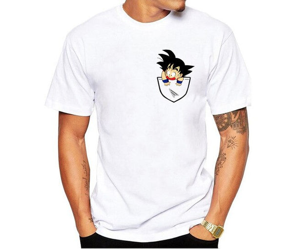 Casual Print Tshirt Men Dragon Ball O-Neck Short Sleeve Loose  Harajuku  Funny T Shirts White Men's Tops Tees