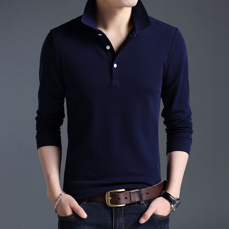 New  Spring Men Solid Color Polo Shirt Long Sleeve Tshirt Men's Casual T Shirts Brand Clothing