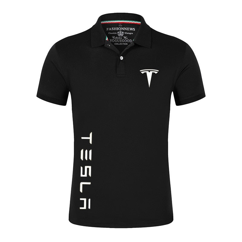 Summer Tesla Car Logo Polo Shirts Men Short Sleeves TShirts Brand Classic Tees Male Cotton Casual Customize Sport Streetwear Top