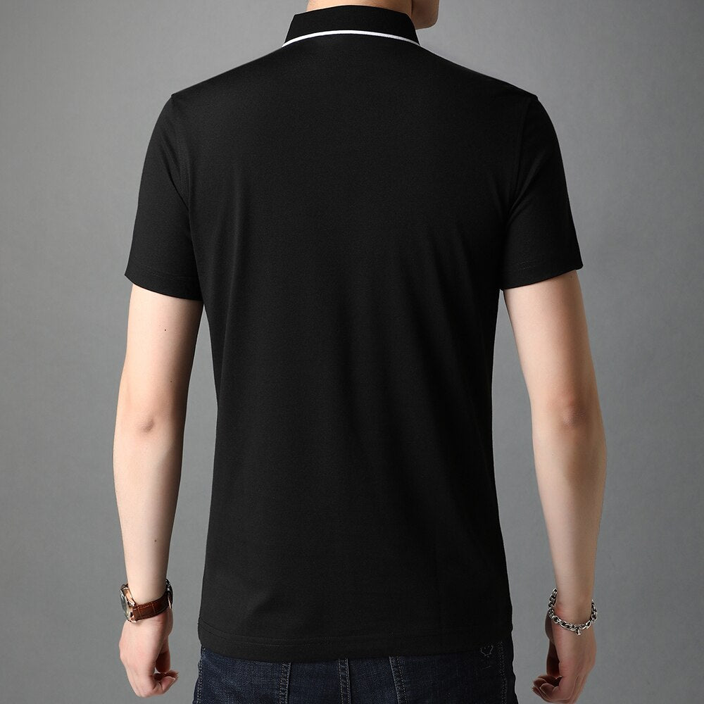 Summer Fashion T Shirt Men Short Sleeved Turndown Collar Casual high quality tshirt Solid color T-Shirts Men Clothing