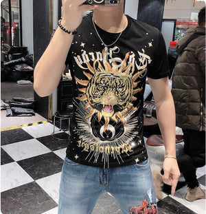 new fashion slim fit man tshirt Diamond design top tees