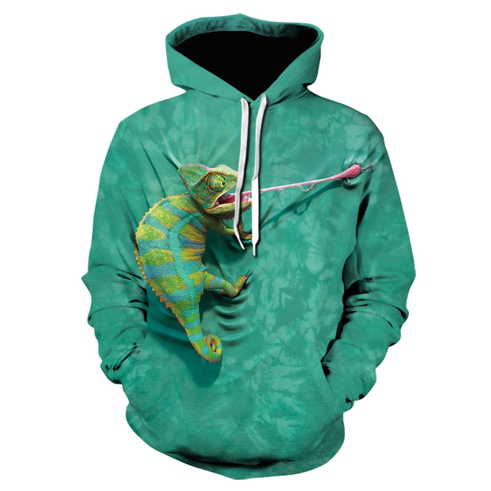 New gothic 3D hooded sweatshirt hip hop men/women pullover funny  graphic green lizard printing men clothing sudadera hombre
