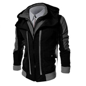 Fashion Brand Casual Men's Hoodies Sweatshirts Slim Fit Men Streetwear Double Zipper Jacket Men's Clothing Black