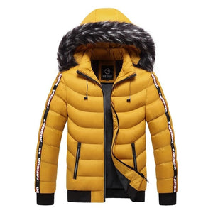 Winter Parkas Coats Men  Warm Thick Fur Collar Jackets Casual Hooded
