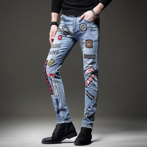 Free Shipping New 2020 men's male Spring summer printed jeans Europe and the United States Slim pants Korean hip-hop trousers