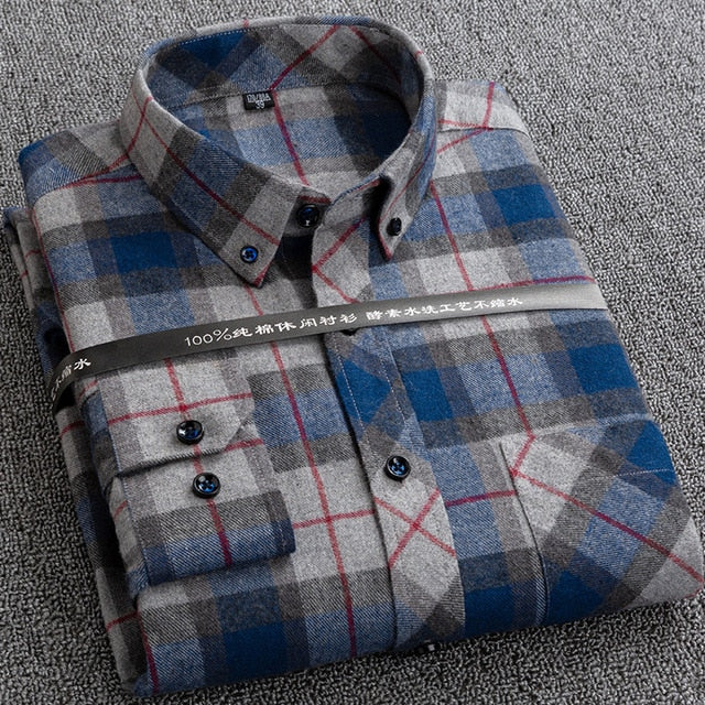 New Plaid Shirts for Male Plus Size