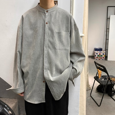 New Spring Corduroy Long Sleeve Shirt Men